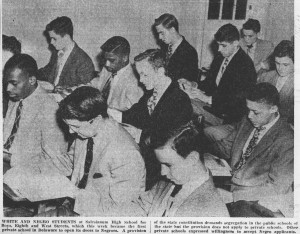 As shown in this newspaper clipping, Salesianum School in Wilmington became the first racially integrated school in Delaware when African American students were admitted in 1950.  (Delaware Historical Society)