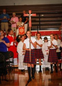 Students in Catholic schools study the Catholic religion, observe rituals, and attend liturgies, as shown in this photograph of the first liturgy of the 2012-13 school year at Ursuline Academy in Wilmington, Del. (as shown in this photograph)  (Bud Keegan Images)