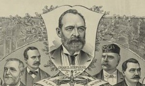 "Uriah Stephens founded the Knights of Labor, the first national industrial union in the United States, in Philadelphia in December 1869 and led the organization until he resigned his post as Grand Master Workman in 1879.  In this 1886 Kurz & Allison lithograph (seen in full in the media gallery), Stephens is honored as the ""Founder of the Knights of Labor.""  (Library of Congress)"