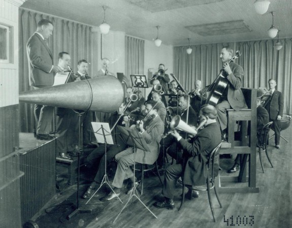 Orchestra being recorded