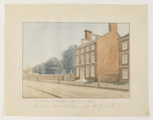 Watercolor of the President's House, located at Sixth and High (Market) Streets, during the 1790s. (Historical Society of Pennsylvania)