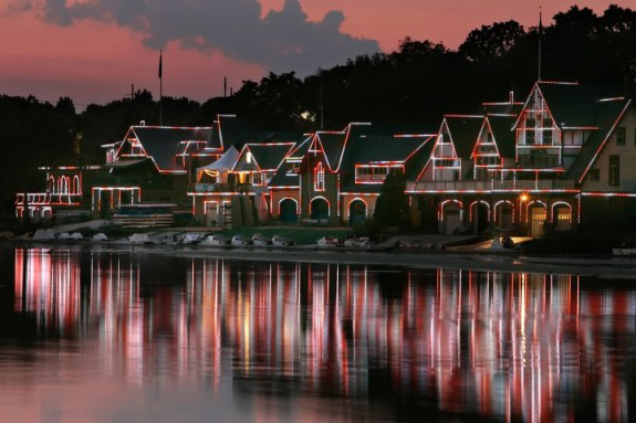 Though the unique clubhouses of Boathouse Row will draw attention at any time of day, viewing the buildings at night is a favorite pastime of Philadelphians. (Photo by R. Kennedy for Greater Philadelphia Tourism Marketing Corporation)