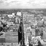 Aerial photograph of Broad street, looking north