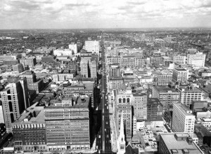 An aerial photo of North Broad Street, seen from atop City Hall in 1959.