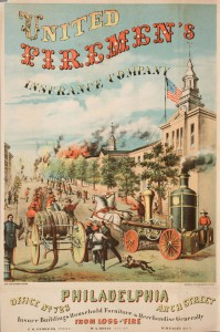 This 1866 advertisement for  the Fire Association of Philadelphia, visualized the need for fire insurance by showing imagery of fire fighters running past Independence Hall to get to a blazing fire in the distance. (Library Company of Philadelphia)