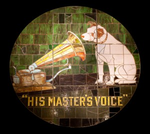 One of the original 1915 stained glass windows of Nipper the dog listening to his master's voice