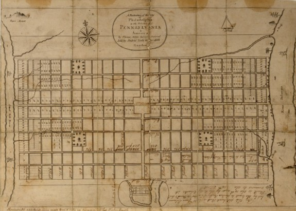 A black ink map of Philadelphia on aged paper. The paper is so old it appears brown in color. The map shows the original plan of Philadelphia.