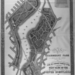 A black and white map of Fairmount park. The map shows the trails and roads through Fairmount park, and has small images of plants scattered around the map. The map is black and white, and it shows both sections of Fairmount park on both the East and West of the Delaware River.