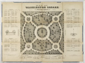 A black and white map of Washington Square. The map image has text surrounding it, naming the types of flowers and trees found in each section of the map. The map itself primarily shows the circular trails in the square and has small images of shrubs to represent plant locations.