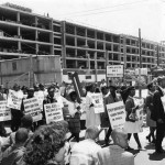 photograph of a protest outside of a school construction site
