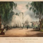 A colored painting showing people walking around the central fountain of Franklin Square. Some peope in fancy suits and dresses are depicted in the image. Some couples are standing around the fountain and some gentlemen are sitting on benches lining the paths of the square.
