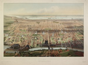 A colored drawing dipicting an aerial view of Philadelphia looking to the East. The image shows the major roads, buildings, and large green spaces that made up the city in 1857. The Delaware river can be seen in the background.