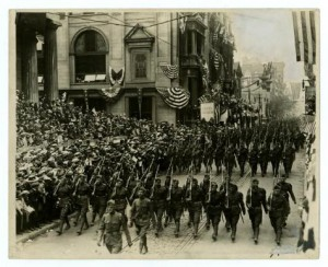 Men of the 28th Infantry Division marching down Chest Street during a homecoming parade in 1917.