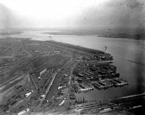 aerial photograph of Hog Island, 1915