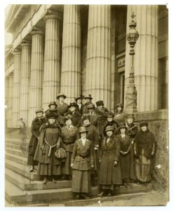 Members of the South Philadelphia Women's Liberty Loan Committee standing on the steps of Rush Library in Philadelphia.