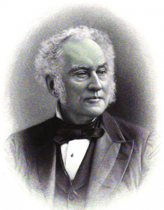 A black and white drawing of Samuel D Gross, who is an older gentleman. This image shows him from the shoulders up. He is wearing a suit with a bow-tie, and his white hair is receding from the top of his head.