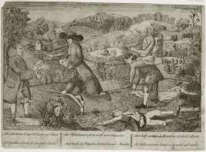 A black and white drawing of of a an mountainous field. A man dressed as a Quaker and anther man dresses as a native american are riding on the back of two men who are dresses as working class immigrants. The field has a house burning in the background and children lie dead in the foreground of the drawing. Ben Franklin is on the left side of the image holding a paper that condemns a group called the Paxton Boys.