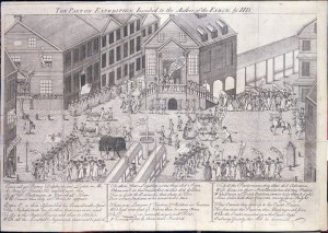 A black and white drawing of a crowd in the middle of a street. Some people are dressed in military outfits and are standing in rows, other people are dressed in civilian clothing and are in crowds watching the vents. The center of the image includes a depiction of a cannon. The people are in front of the first courthouse of Philadelphia, which has two stairways leading to the front of the brick building.