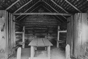 photograph of the interior of an 18th century hospital hut
