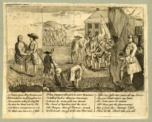 A black and white drawing on yellowed paper showing a group of men dressed as Quakers huddled in a group, one of them is dancing with a naked Native American woman. Ben Franklin is on the right of this drawing looking at the scene from behind a curtain.