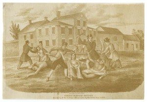 A sepia-tone drawing of a group of men dressed in hats and jackets attacking a group of people in simple clothing in the middle of a street. There is a row of buildings in the background, but they are in the distance behind the group of people.