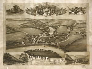 a drawn map showing an aerial view of Valley Forge