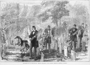 A black and white illustration of small girls and soldiers in a cemetery placing American flags at each gravestone. The men are dressed in military garb, and there is a crowd of people observing the flag placement.