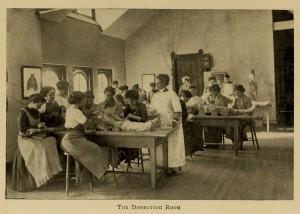 This posed photograph of the dissection laboratory of the Woman's Medical College of Pennsylvania (WMCP) from the 1910 yearbook conveyed the reassuring idea that the study of medicine, even anatomy, could be orderly and lady-like. The opening of Quaker-supported WMCP in 1850 and founding of Woman's Hospital of Philadelphia (1861) made Philadelphia the home of many early women physicians and surgeons. (Legacy Center Archives, Drexel University College of Medicine)