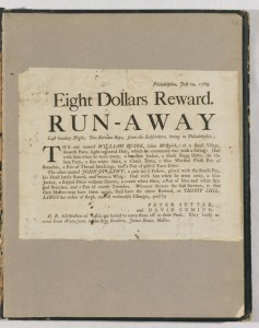 The text of an advertisement about two run away indentured servants. The text was cut from a larger piece of paper and pasted into a grey book.