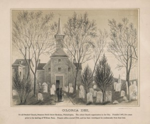 A black and white drawing of the Gloria Dei Church. In front of the church are three trees without leaves on them, a variety of grave stones, and a man and women are walking toward the building.