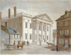 A color painted illustration of a city street, with a white federal-style building with six large columns at the entrance. Around the building are people in horse carriages, walking along the street, and working in front of nearby stores.