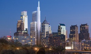Philadelphia skyline with Comcast towers, one completed, the other (and taller) one inserted digitally at time of announcement in 2014 that it would be built.