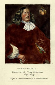 A color painting of a man wearing black clothing with a white undershirt. The man has long hair and is looking off to the right side of the image.
