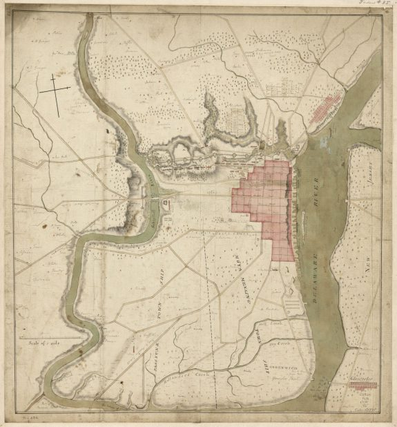 Map  of Philadelphia in 1778 showing lines of defense