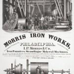 Advertisement depicting labor at I.P. Morris Iron Works.