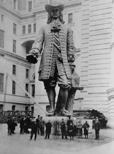 The full-sized statue of William Penn is shown on display in the City Hall court yard in this photograph from 1893. (PhillyHistory.org)