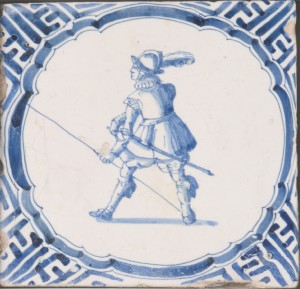 This earthenware tile, made in the Netherlands c. 1625-60, depicts a pikeman's armor, including the pot-style helmet. (Philadelphia Museum of Art)