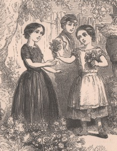 In this children's book illustration from the 1850s, the girl on the right is wearing a pinafore like the one pictured above. (From The Naughty Girl Won; or, The Story of Kitty Willis, Sunday School Union, courtesy of Philadelphia History Museum)
