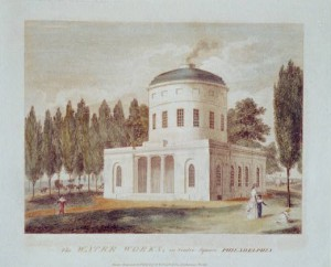 The Pump House on Centre Square, depicted in William Birch's Views of Philadelphia in 1800. (Library of Congress)