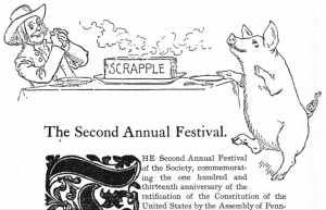 A black and white drawing of a man dressed in a Quaker outfit and a pig sitting at a table with a block of scrapple in between them. The scrapple is radiating sent lines.