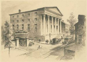 A horse-drawn streetcar of the same type depicted by the model is portrayed here traveling on Tenth Street north of Walnut (passing the original building of Jefferson College and Hospital). (Library Company of Philadelphia)