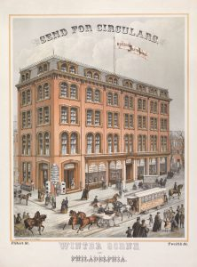 Horse-drawn streetcars, as seen at Twelfth and Filbert Streets in this c. 1870 advertisement, changed the residential organization of the city. (Library Company of Philadelphia)