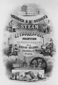 Advertisement depicting a steam engine.