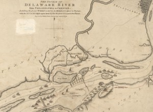 A black and white map of the Delaware River, with shading to represent island boundaries and little drawings of ships. Written labels provide the names of landmarks.