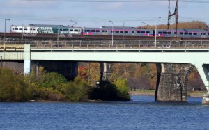 One of SEPTA's Regional Rail trains crosses the Schuylkill River.
