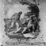 Painting of African American soldier bayoneting a Confederate soldier.