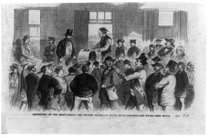 This scene of the draft in New York, published in 1863, depicts the use of a draft drum. (Library of Congress)