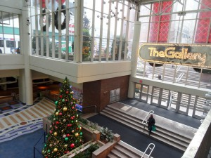 A color photograph of steps leading down to the glass entrance of mall. Concrete columns break up the floors and glass panels.