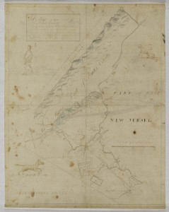 A color image of a map, that shows a small triangular piece of land, with boundaries, mountains, and small animals drawn on the page.