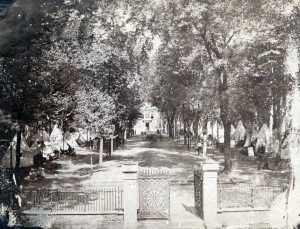 Recruiting fairs such as this one in Independence Square, photographed in 1862 photograph, helped to minimize the impact of the draft in Philadelphia. (Library Company of Philadelphia)
